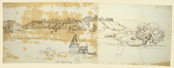 Panorama of the Fort, Kalinjar. Temple in foreground with sketch of plan.